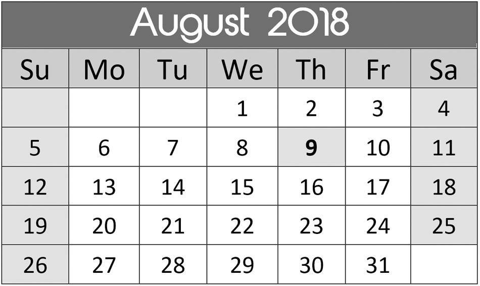 South Africa Calendar August 2018