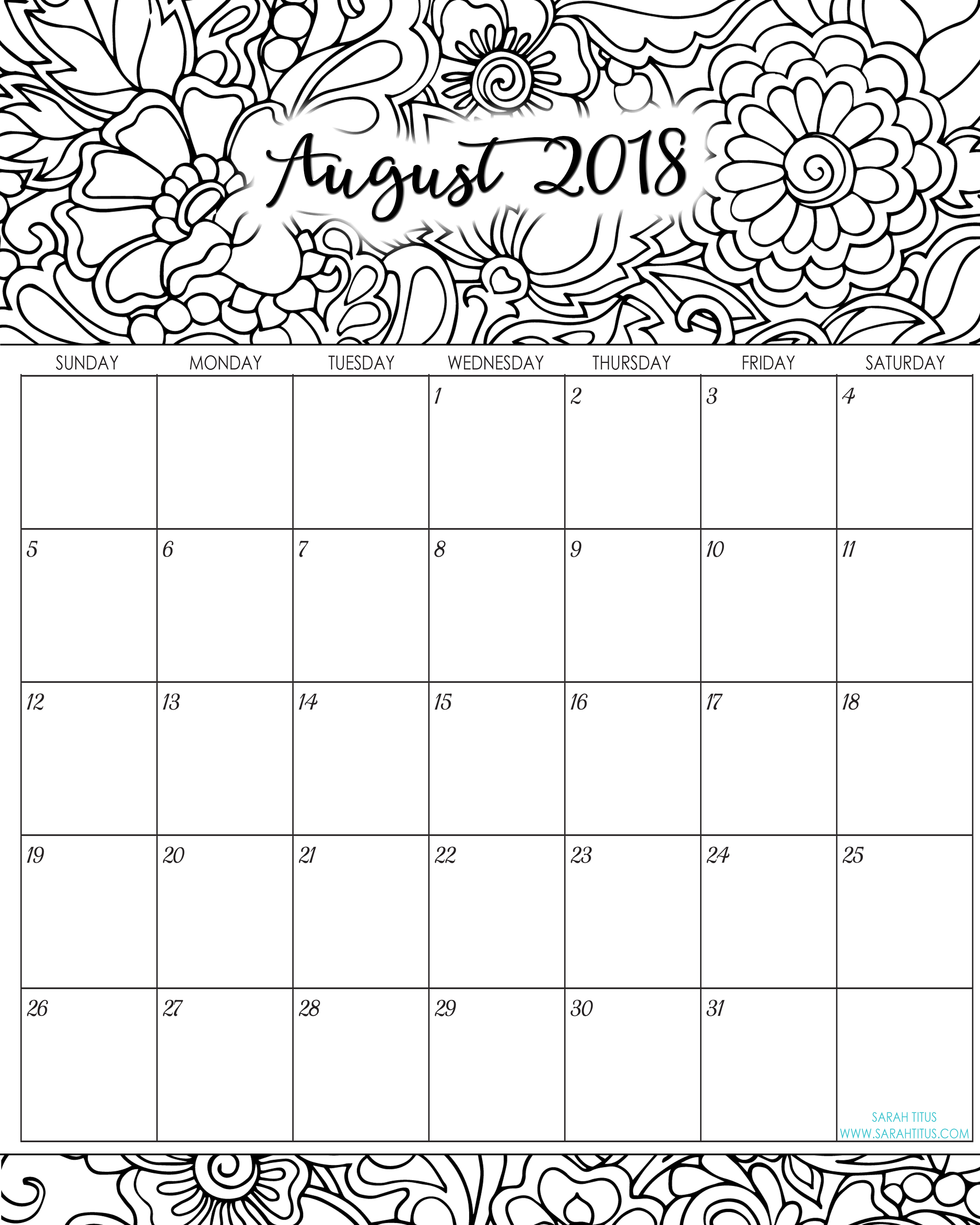 Unique August 2018 Cute Calendar
