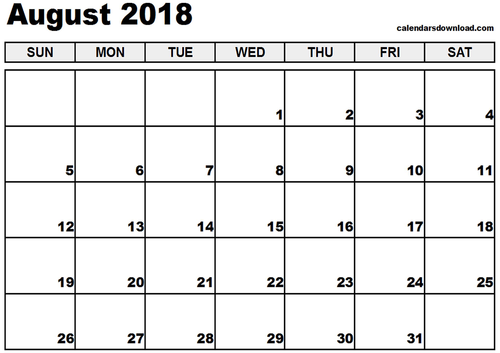 Vertical Calendar August 2018