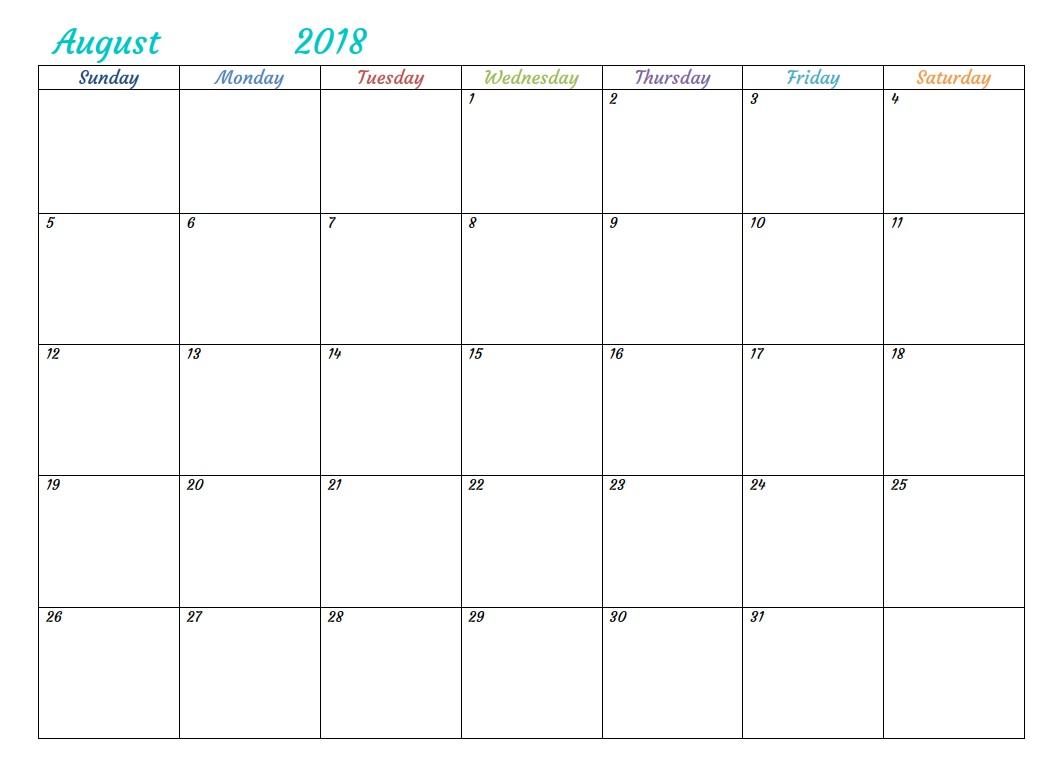 Word Printable August 2018 Calendar