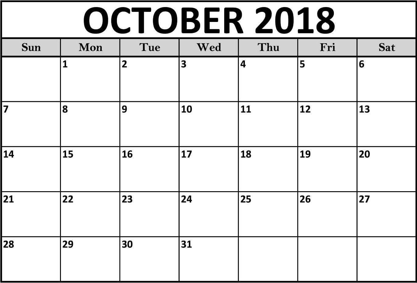 2018 October Calendar Blank