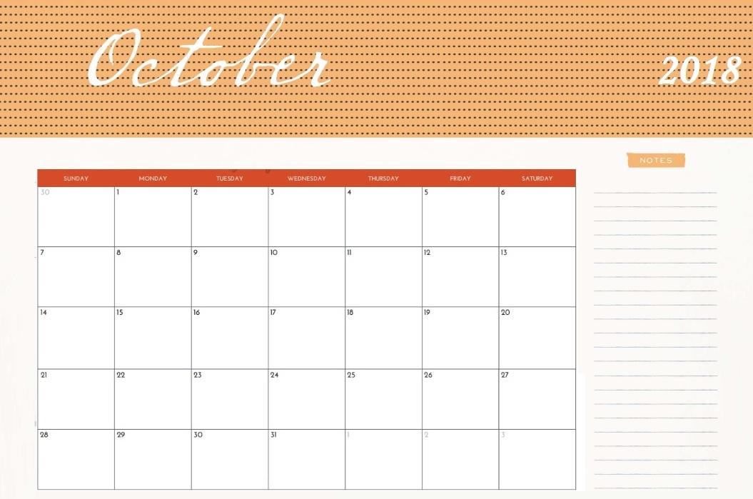 2018 October Calendar Cute