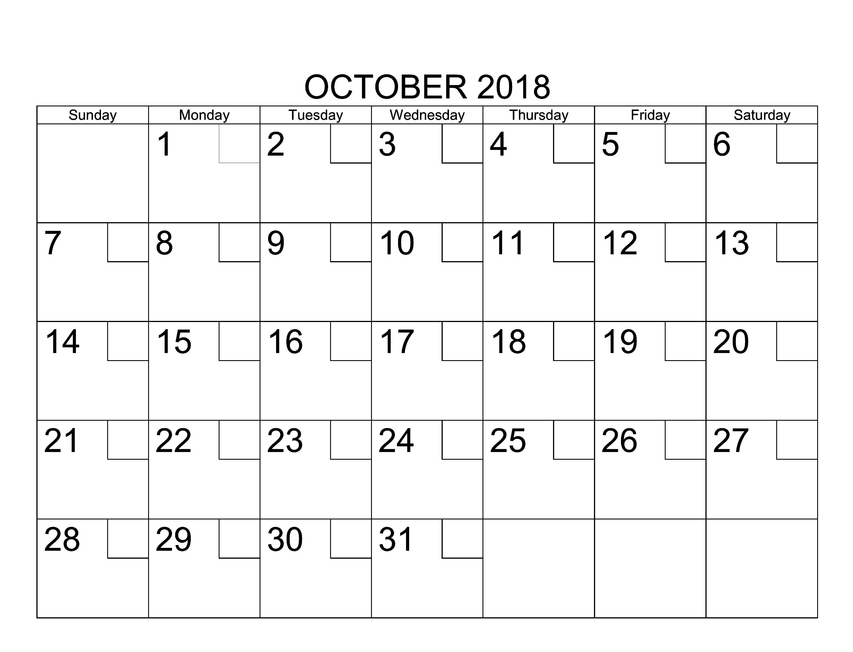 2018 October Calendar Excel