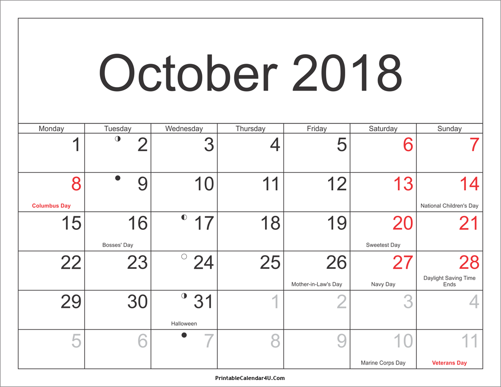 2018 October Calendar Holidays With Moon Phases
