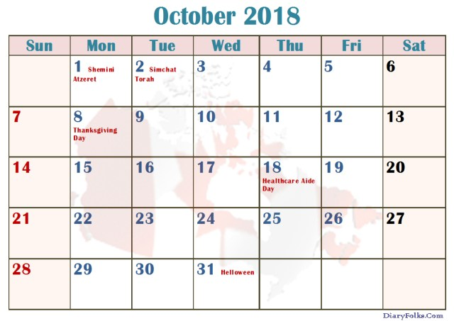 2018 October Calendar Holidays