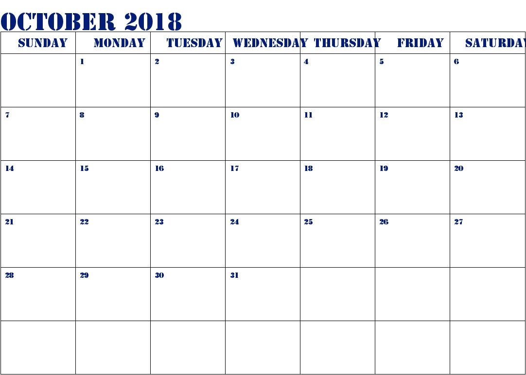 2018 October Calendar Pdf