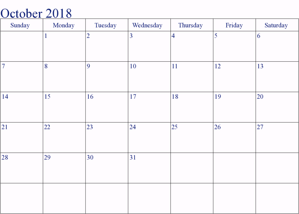 2018 October Calendar Printable Template