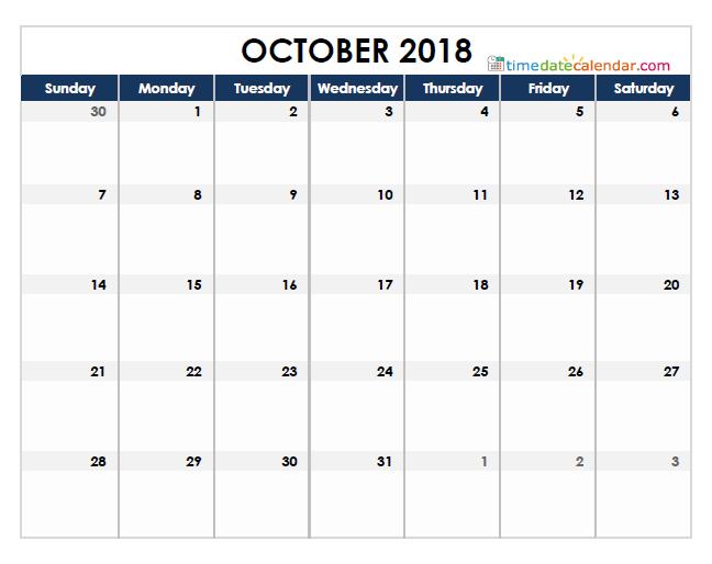 2018 October Calendar Singapore