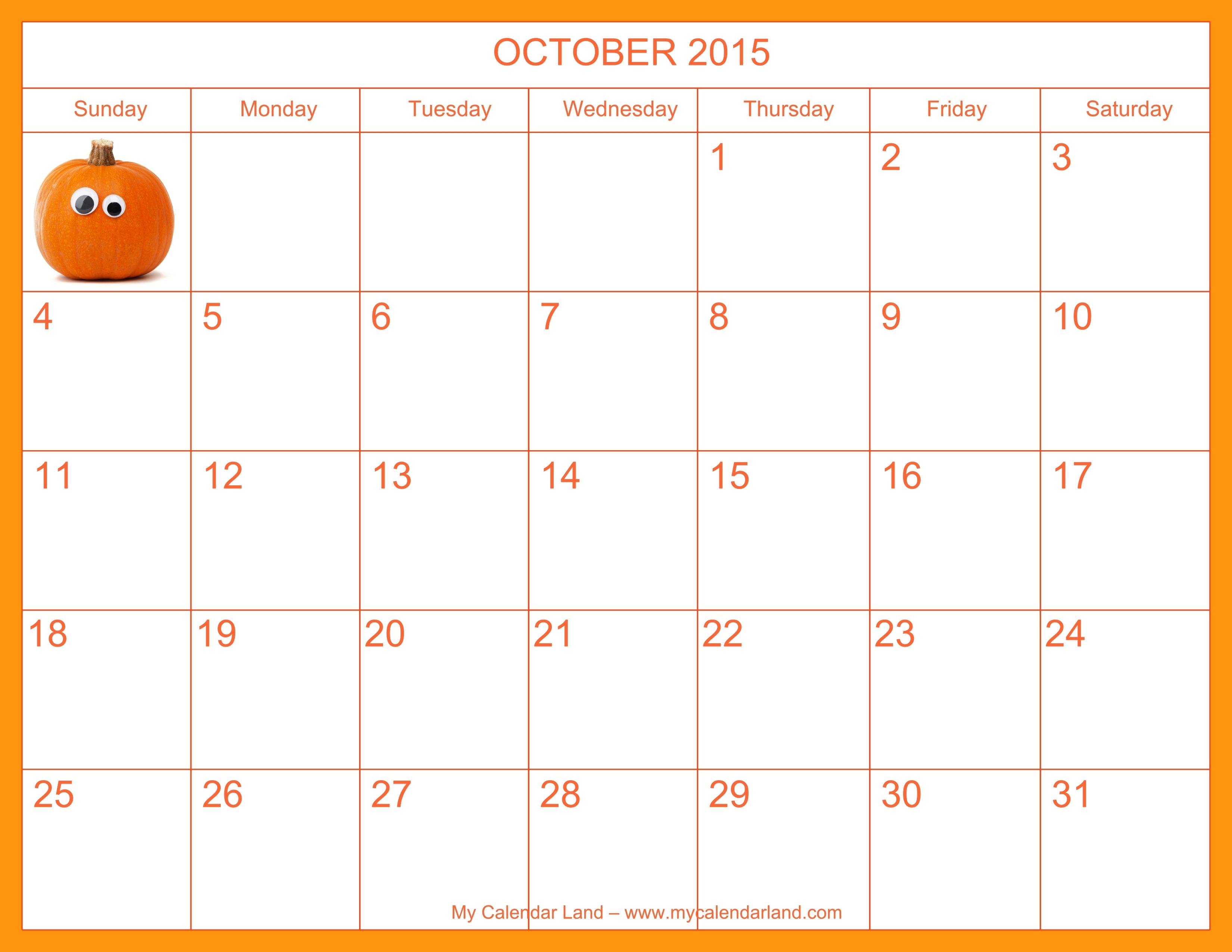 2018 October Calendar Spanish