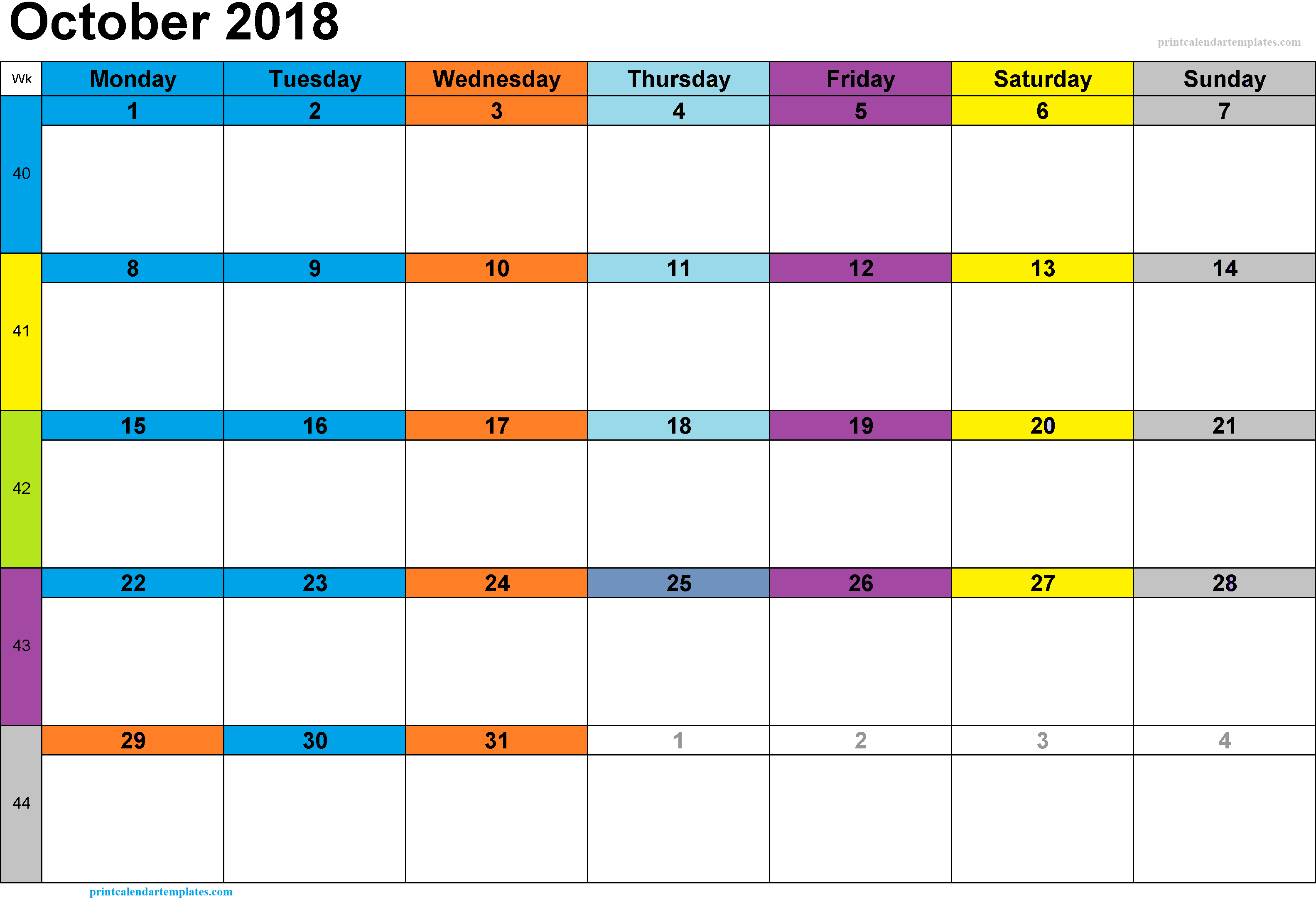 2018 October Calendar Template