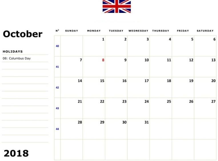 2018 October Calendar UK