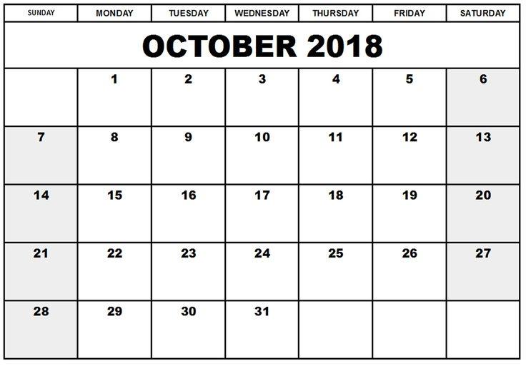 2018 October Calendar USA