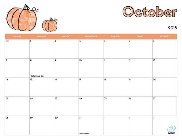 2018 October Calendar to Print