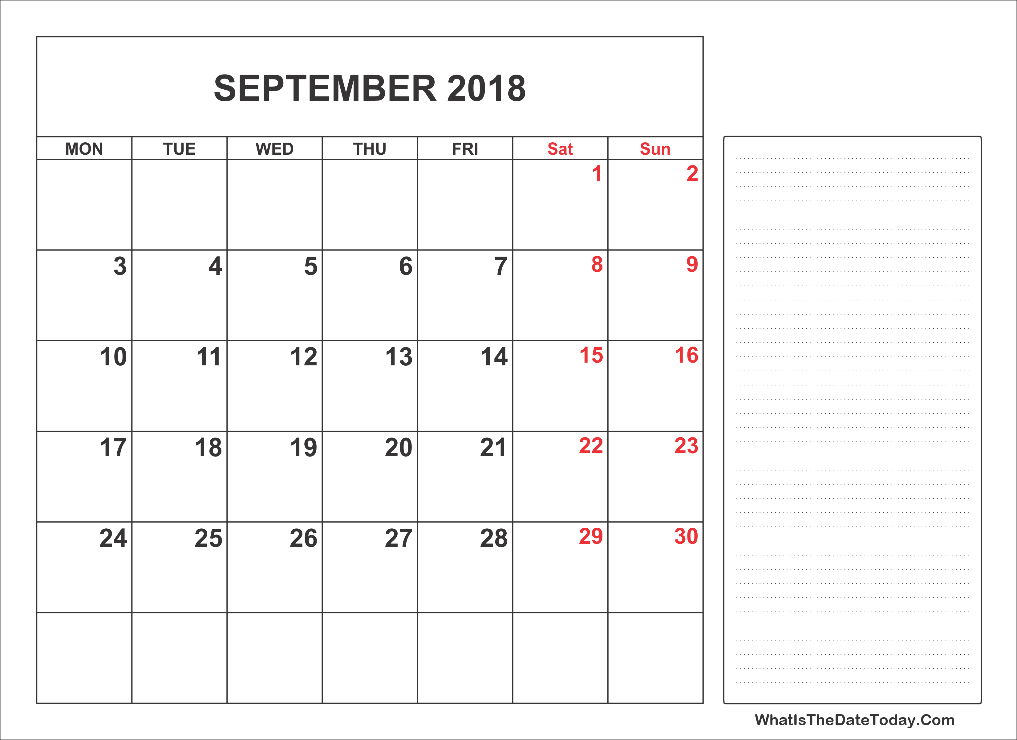 2018 Printable Calendar September Notes Full
