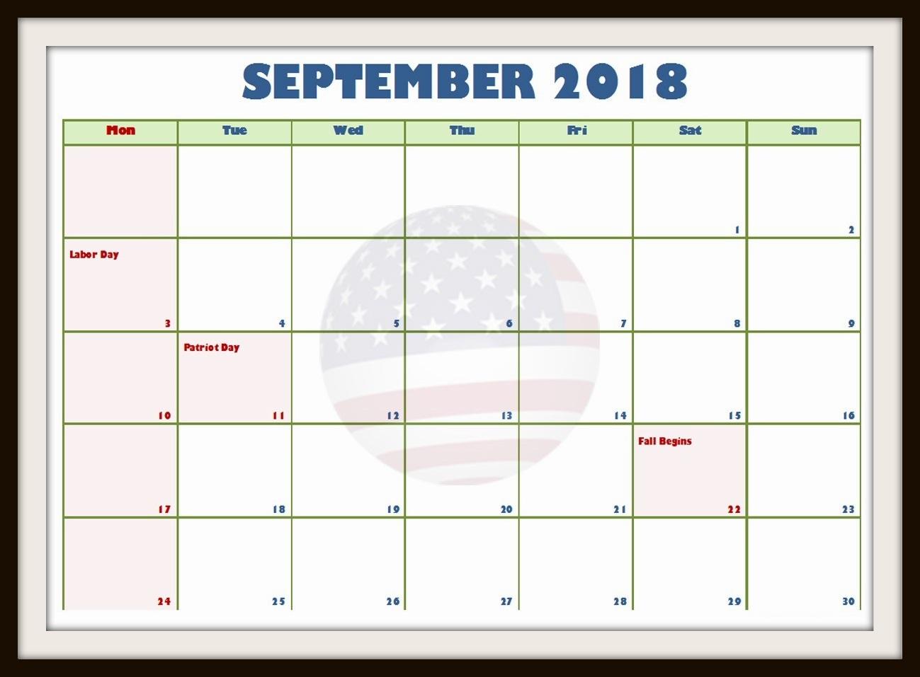 2018 September Blank Calendar