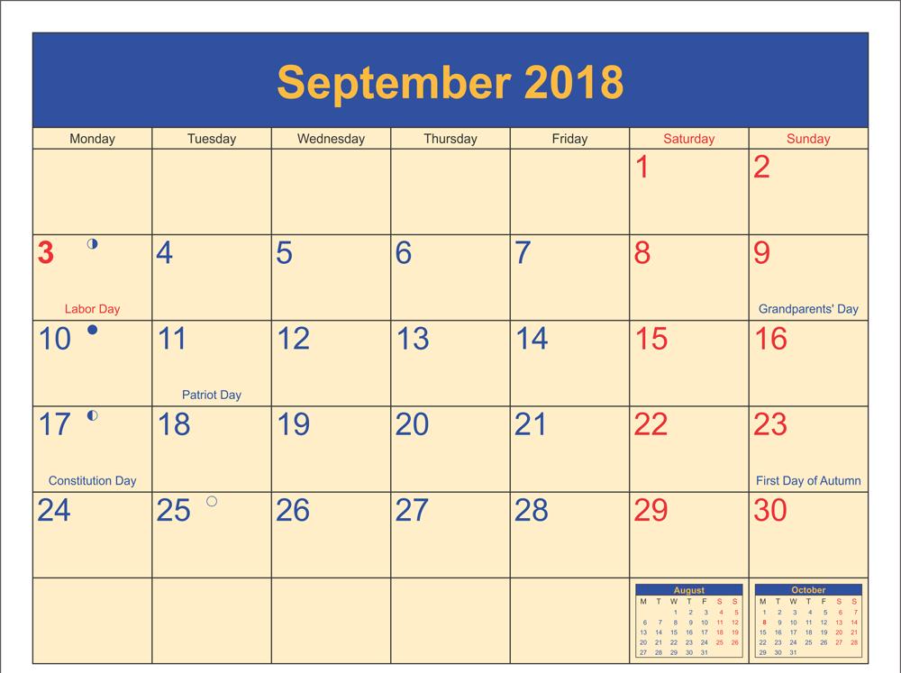 2018 September Calendar Editable