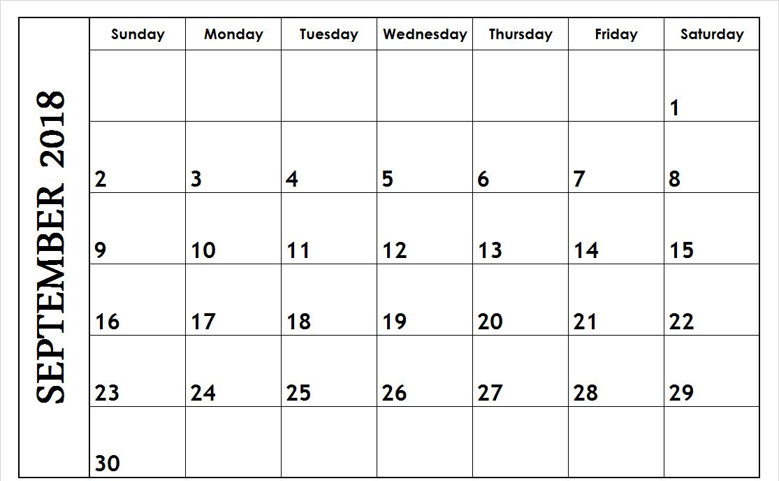 2018 September Calendar Singapore