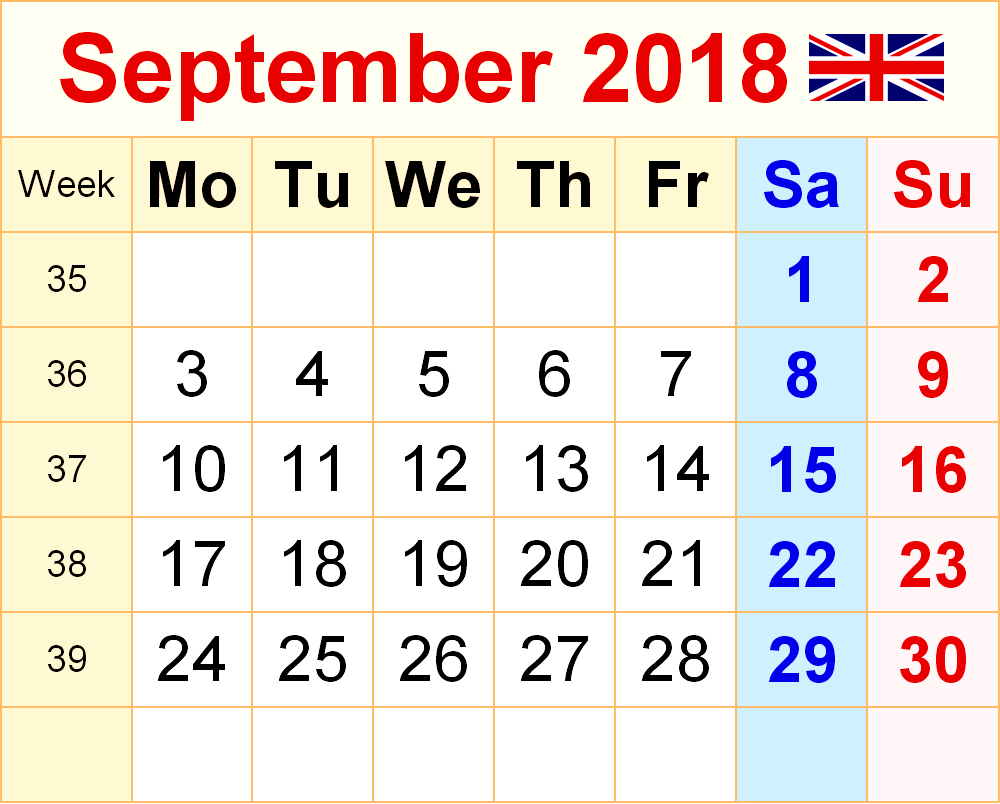 2018 September Calendar South Africa