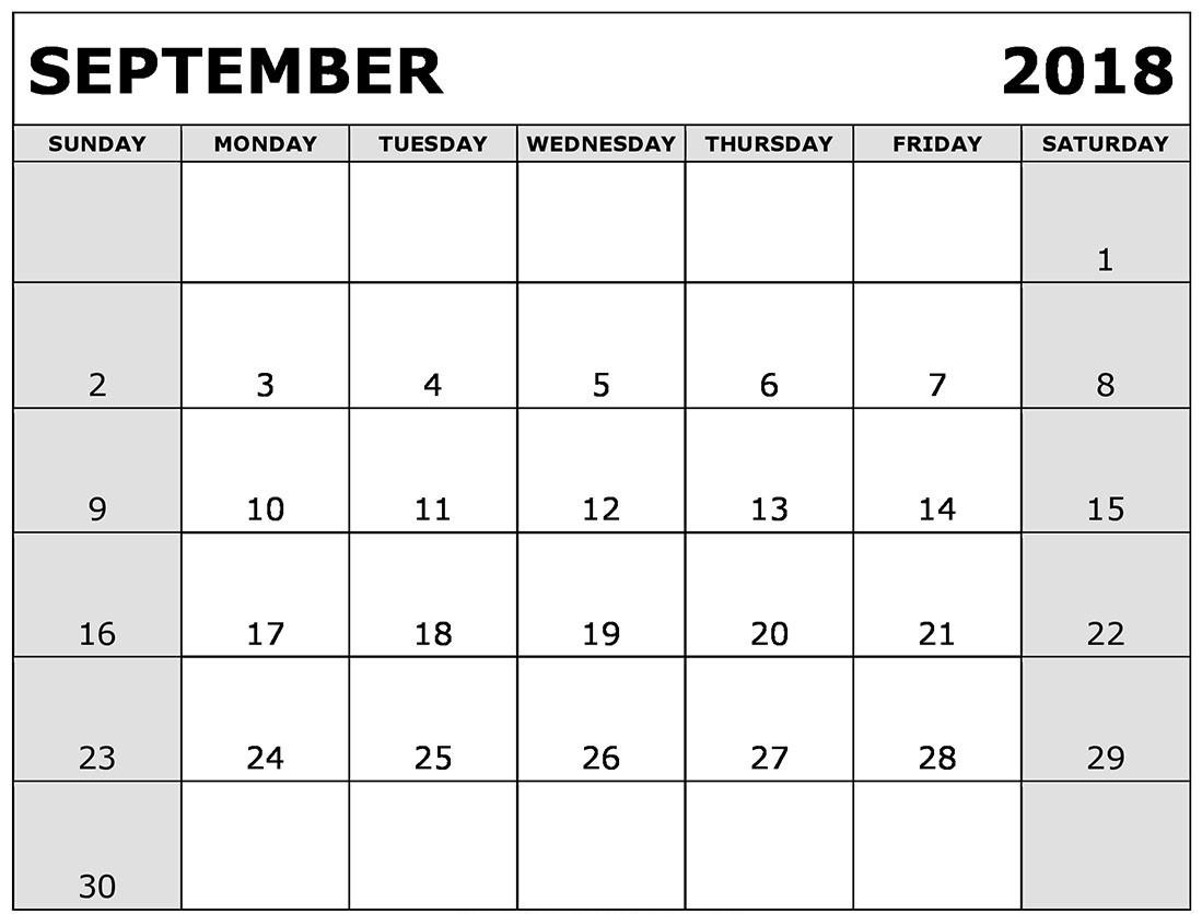 2018 September Calendar Spanish