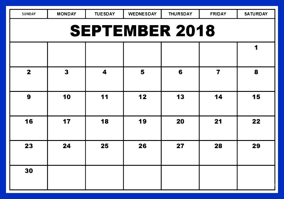 2018 September Calendar Template