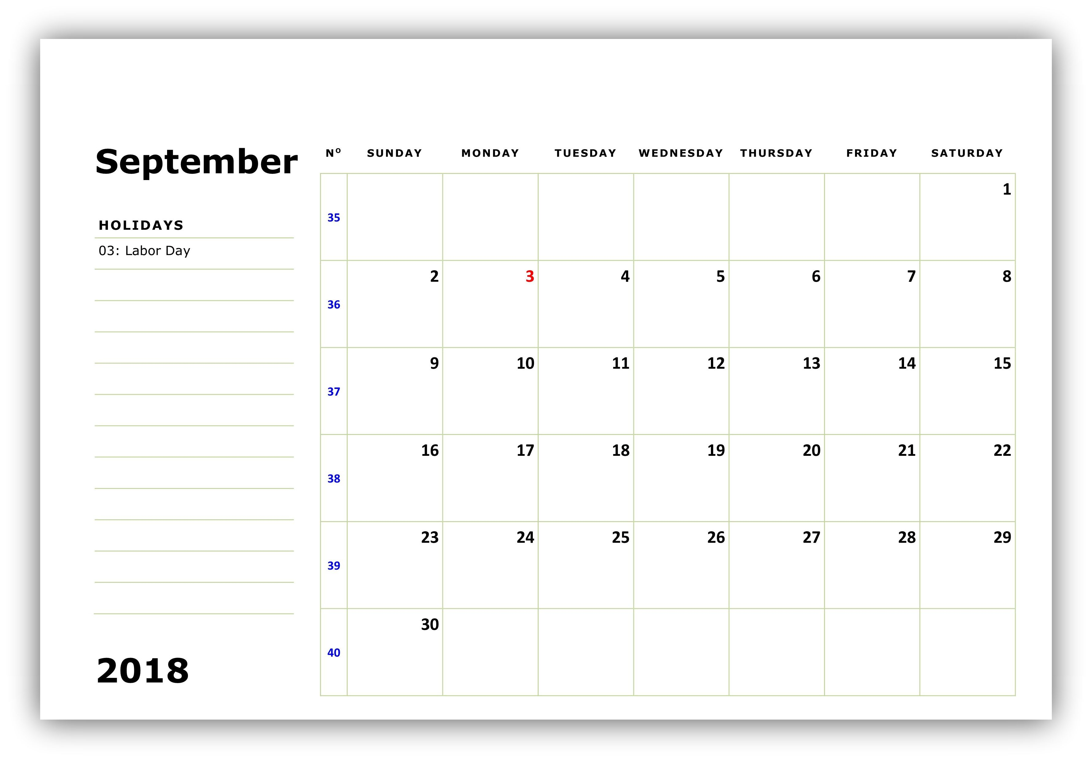 2018 September Calendar to Print