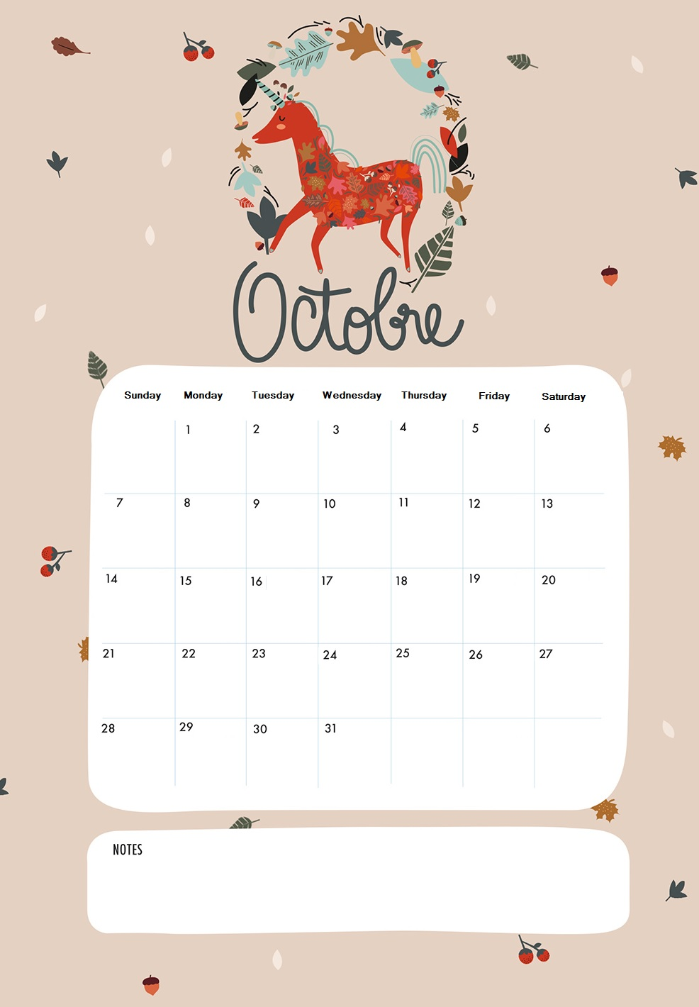 Amazing Printable October 2018 Calendar