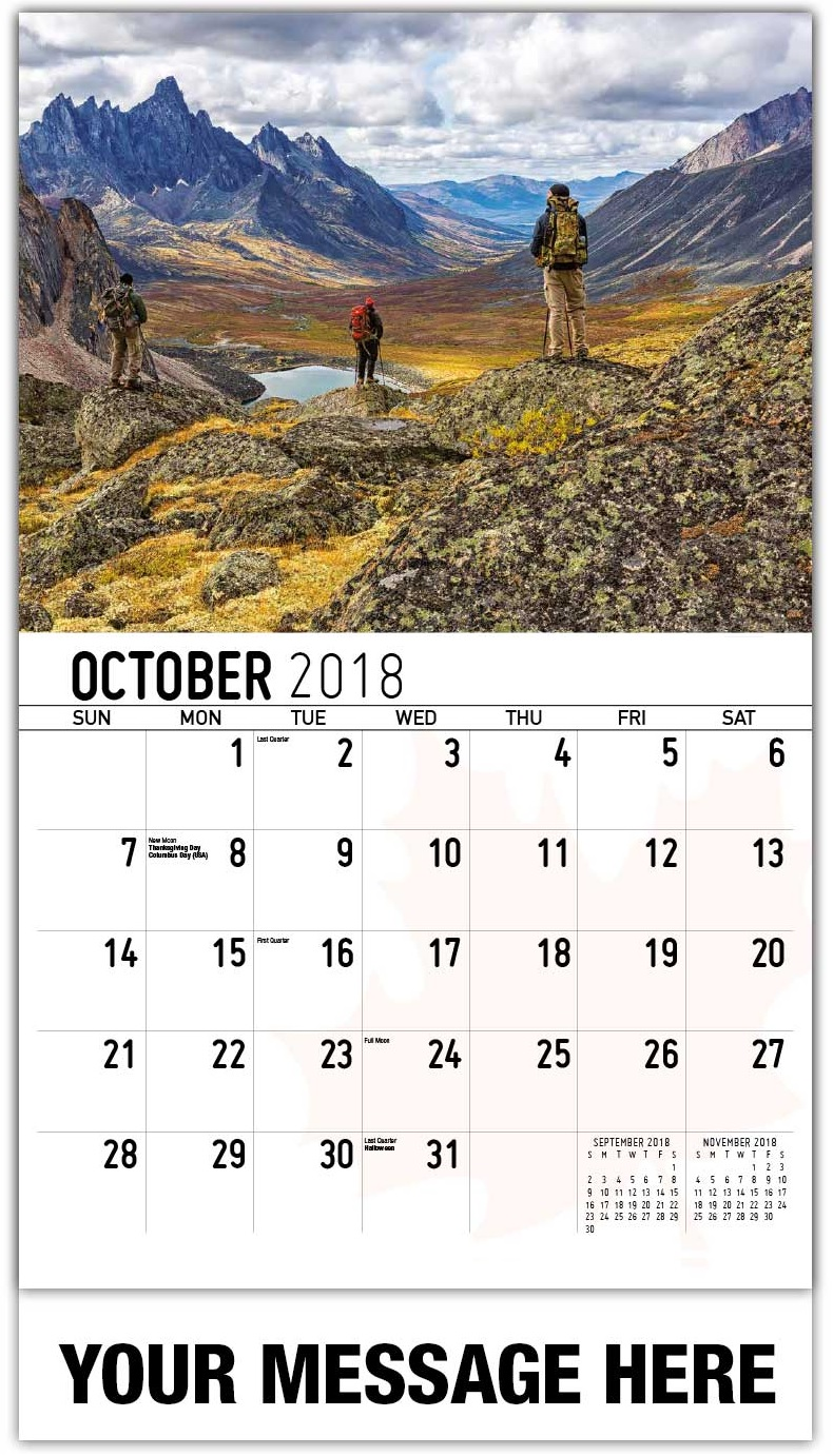 Amazing Wall Calendar October 2018