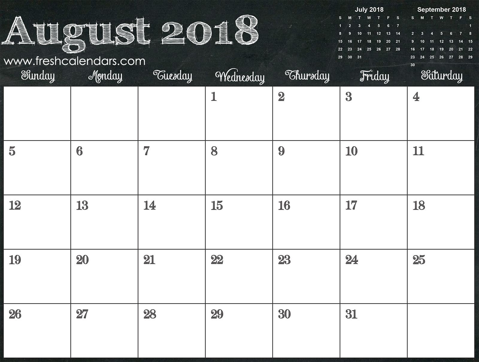 August 2018 Calendar Online Free Templates
