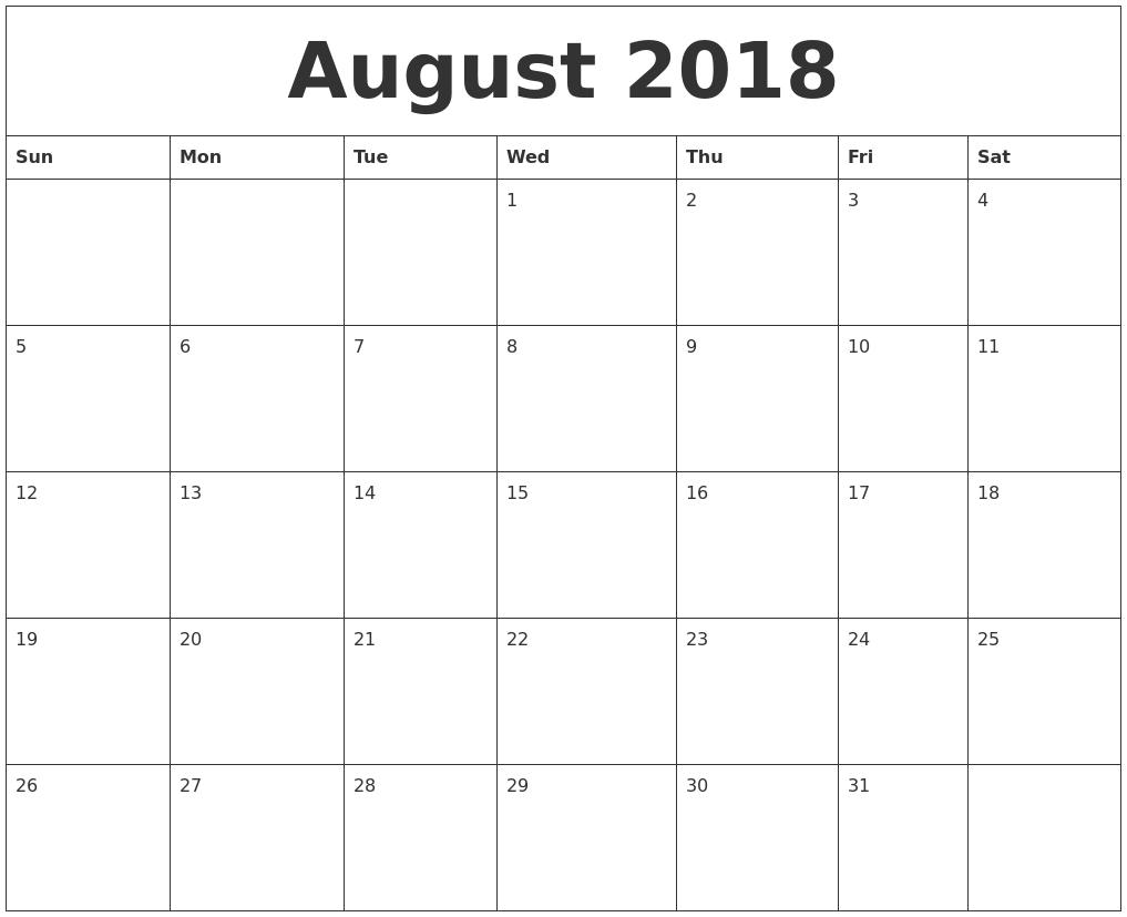 August 2018 Free Calendar Template
