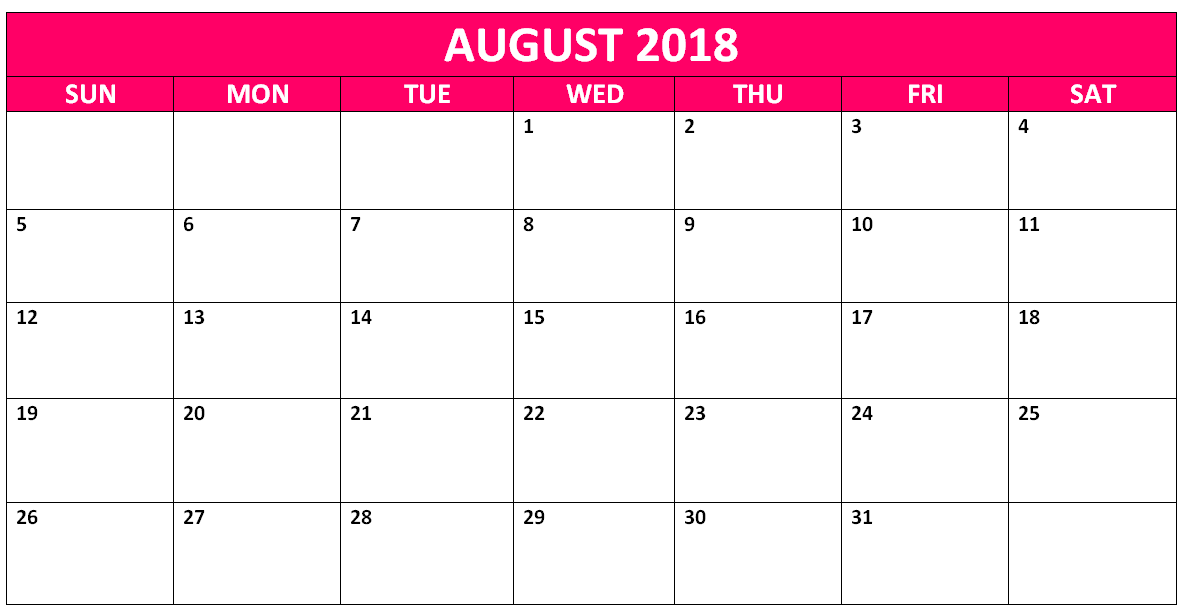 August 2018 Free Printable Calendar