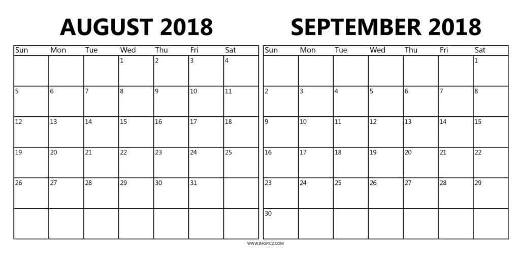 August September 2018 Calendar In Pdf, Excel, Word