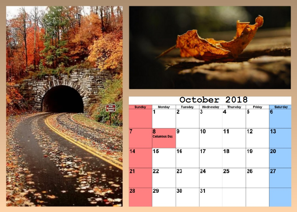 Beautiful Desk Calendar October 2018