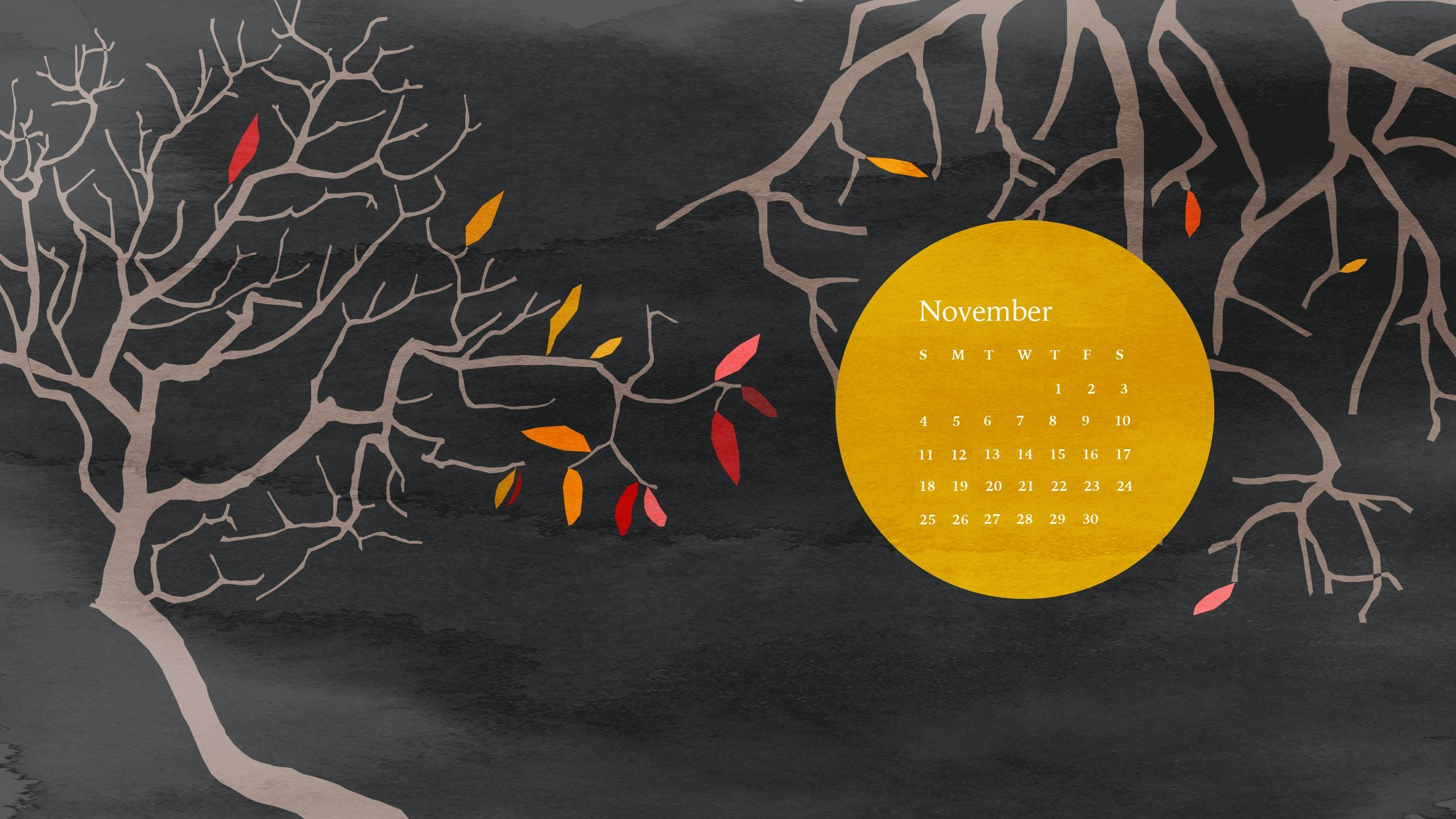 Beautiful November 2018 Desktop Calendar