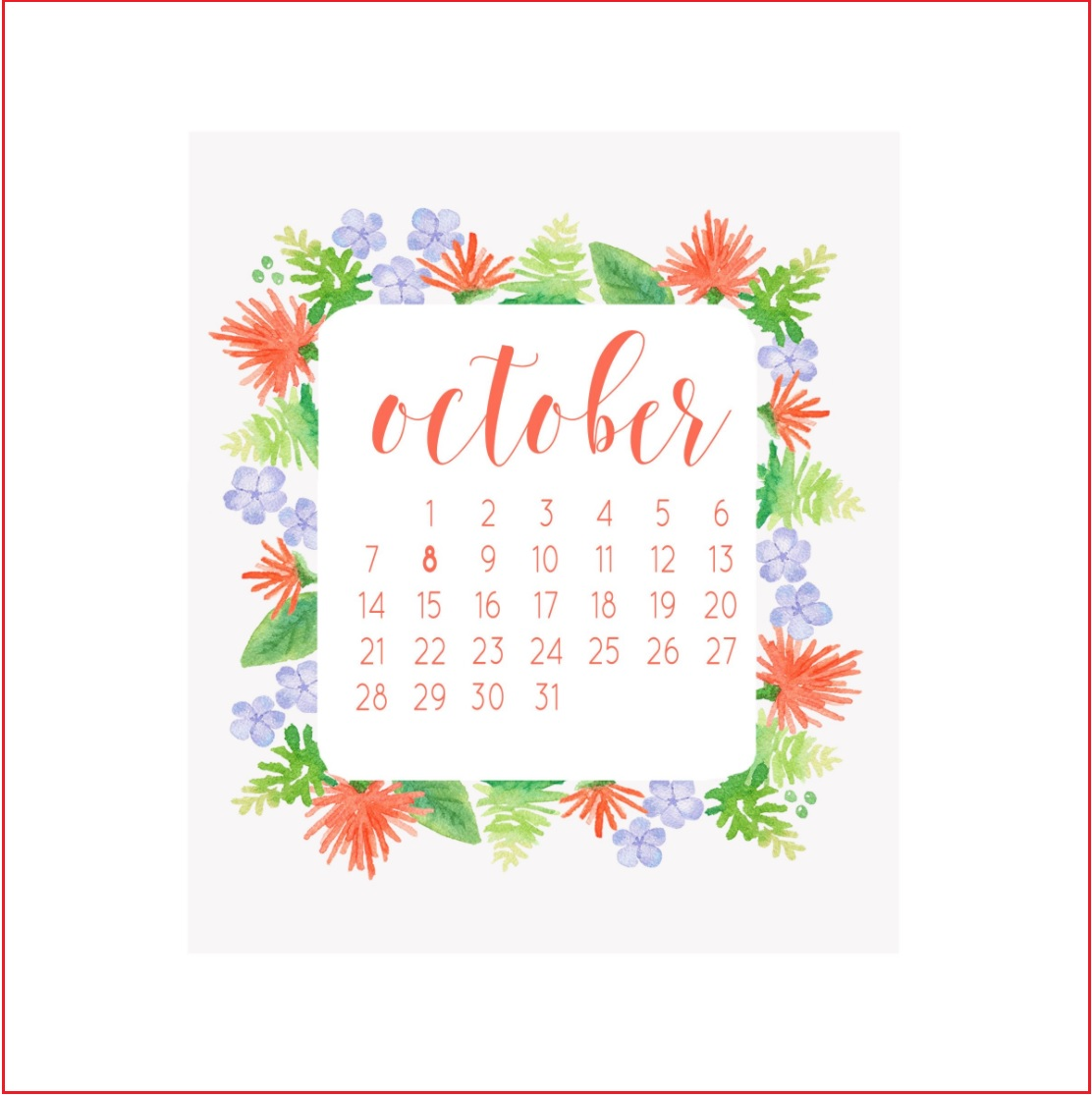Beautiful October 2018 Calendar For Office