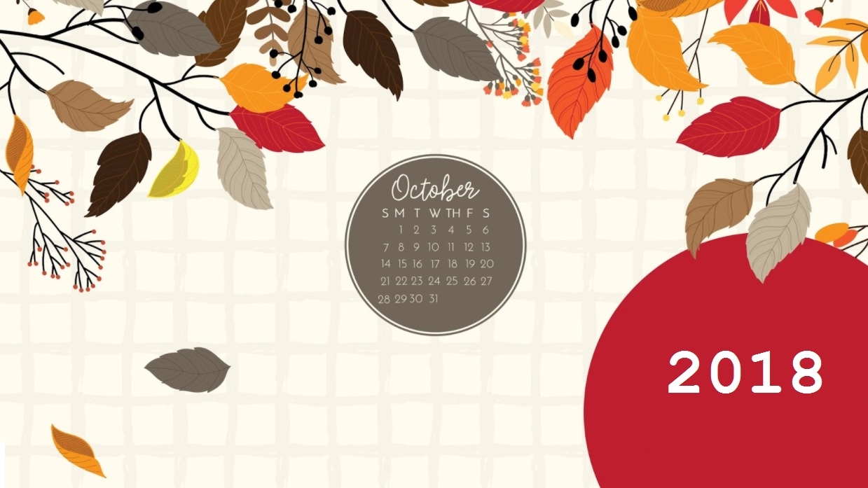 Beautiful October 2018 Desktop Calendar