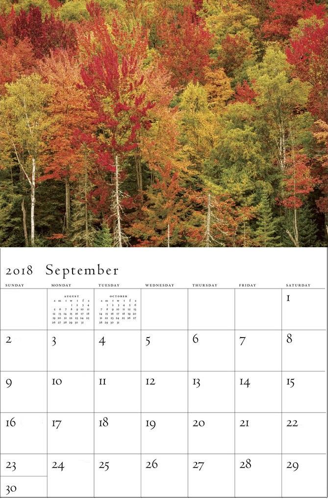 Beautiful September 2018 Wall Calendar