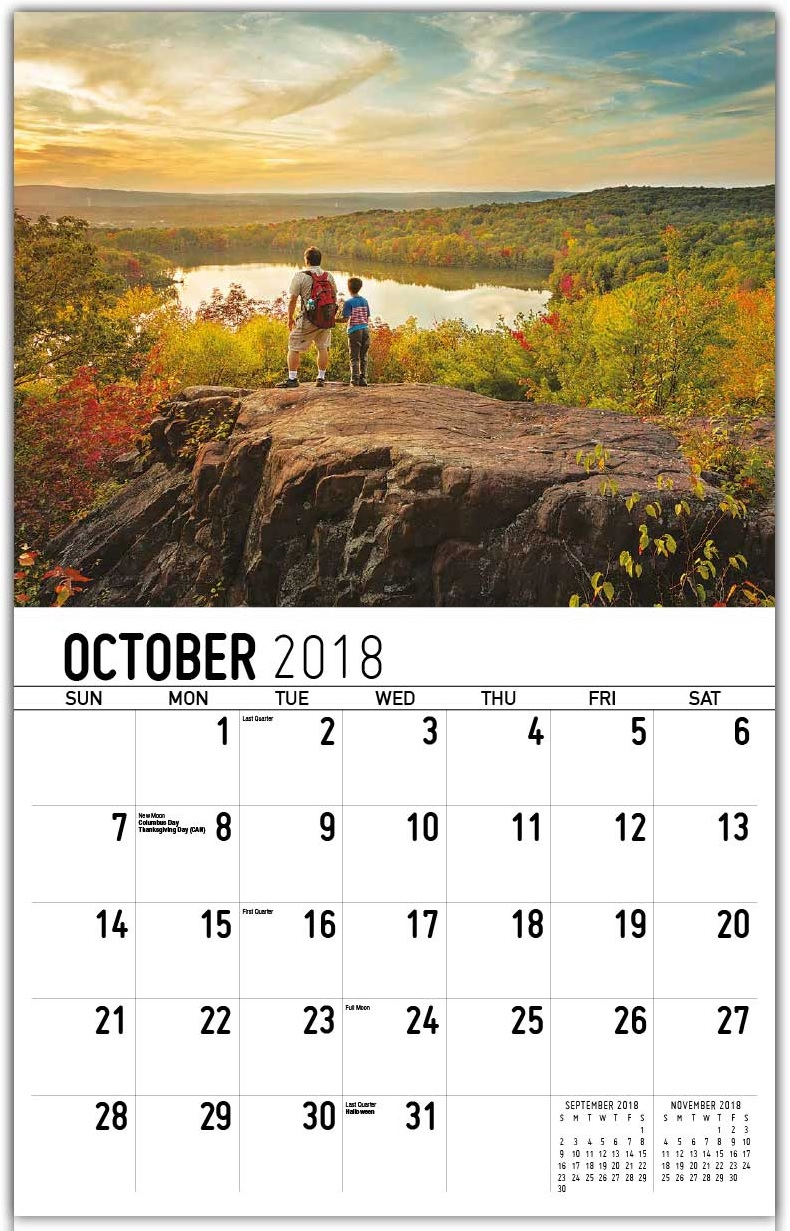 Beautiful Wall Calendar October 2018