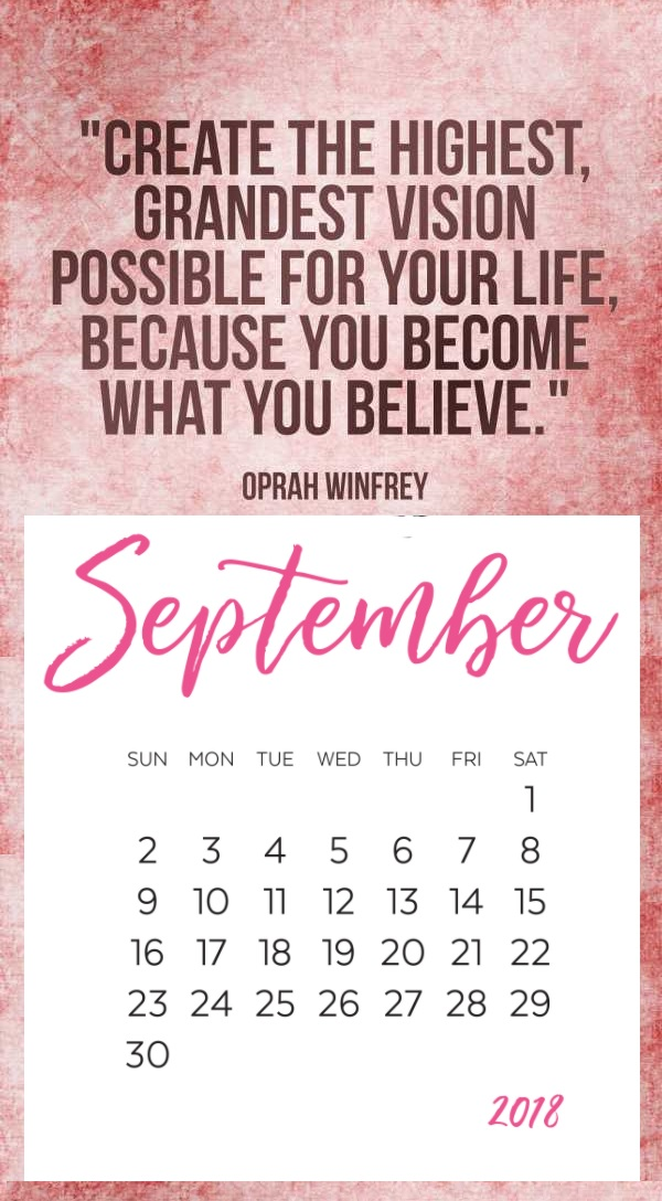 Best Motivational September 2018 Calendar
