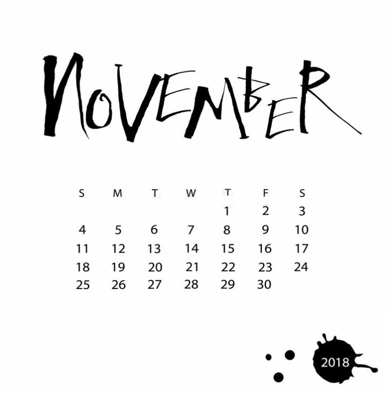Best November 2018 Calendar Designs