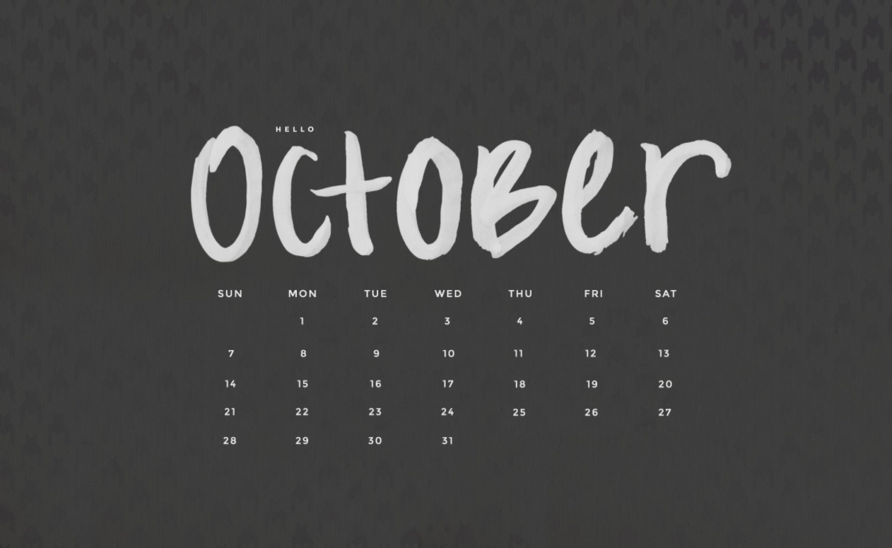 Best October 2018 Desktop Calendar