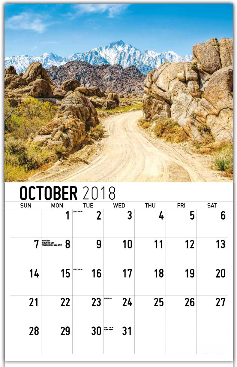 Best Wall Calendar October 2018