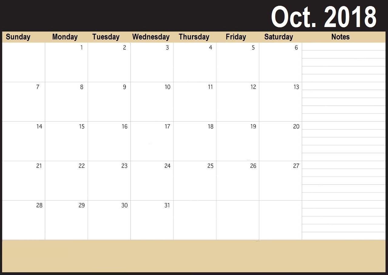 Blank October 2018 Calendar Cute