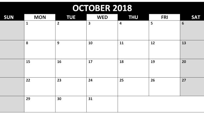 Blank October 2018 Calendar Editable
