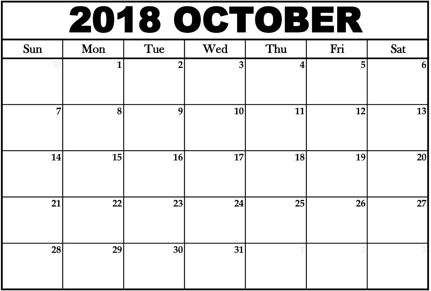 Blank October 2018 Calendar Excel