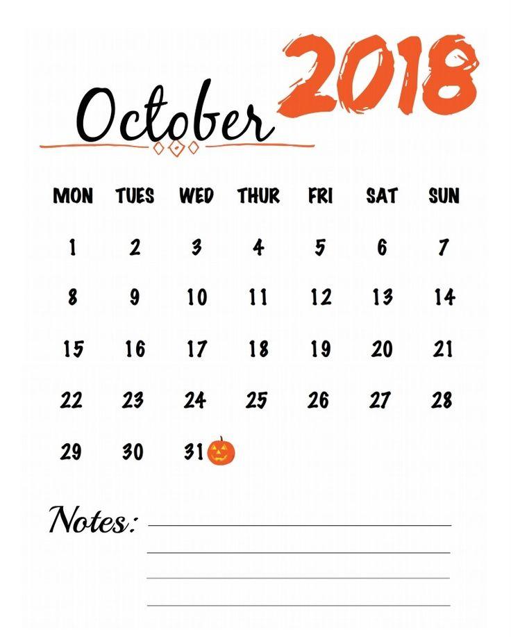Blank October 2018 Calendar Template