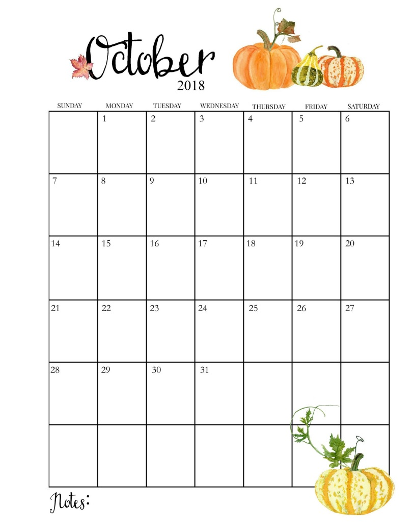 Blank October 2018 Calendar to Print