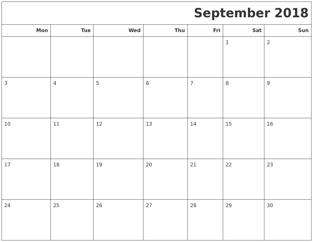Blank September 2018 Calendar Cute