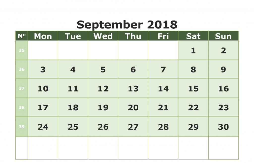 Blank September 2018 Calendar PDF