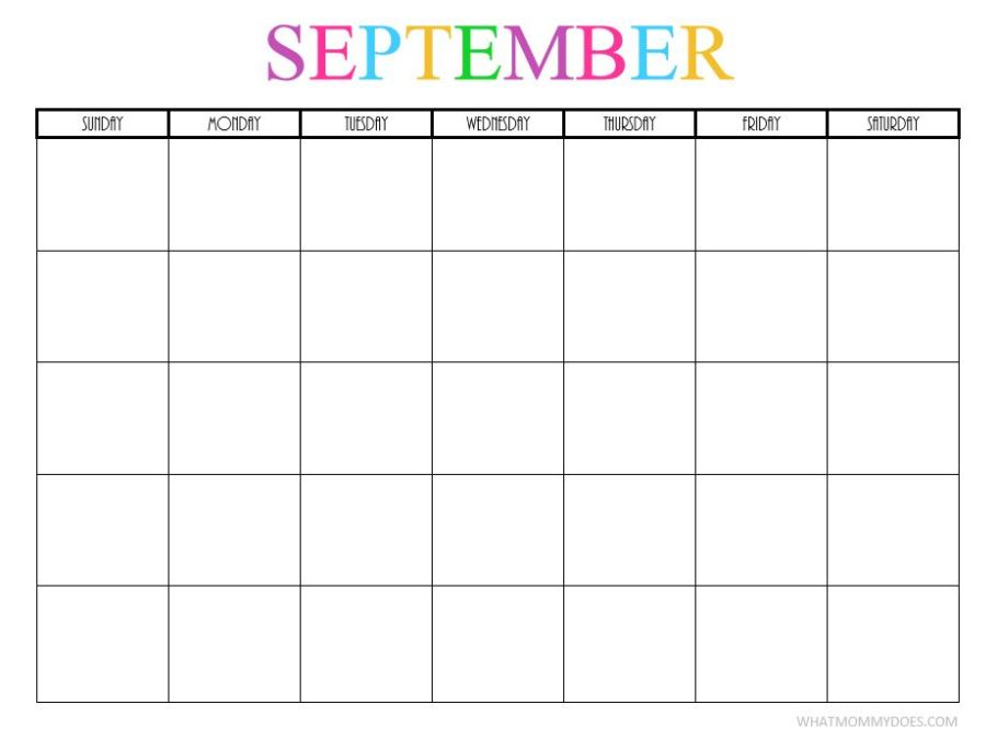 Blank September 2018 Calendar Page