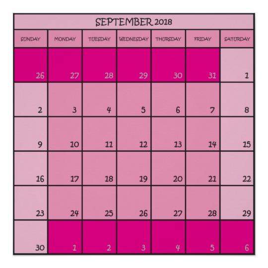 Blank September 2018 Calendar Pink